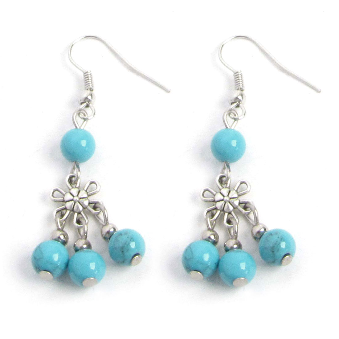 Woman Party Shopping Blue Beads Detial Fish Hook Earrings Silver Tone Pair