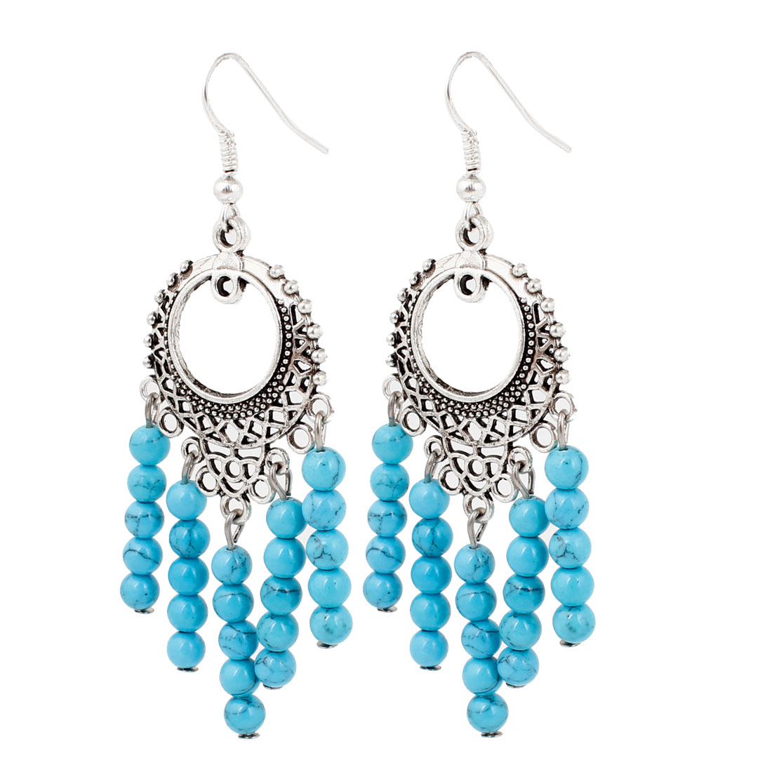 Lady Blue Plastic Round Beads Detail Fish Hook Earrings Silver Tone Pair