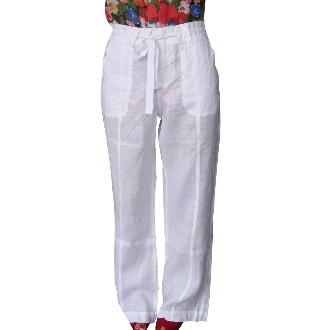 Women Slanting Pockets Button Closure Solid White Casual Pants XL