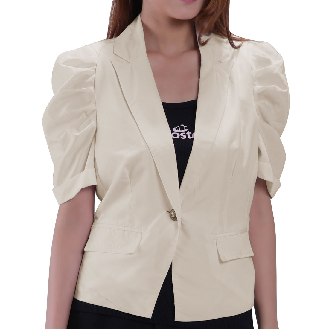 Woman Ruched Sleeves Nylon Lining Professional Short Blazer Khaki S