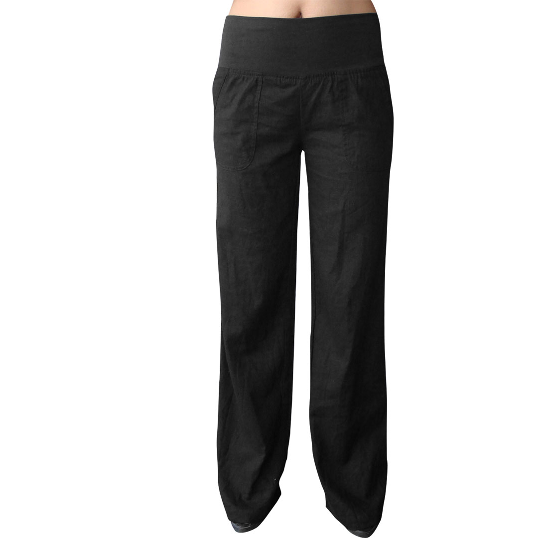 Elastic Waist Slanting Pockets Solid Black Leisure Pants L for Women