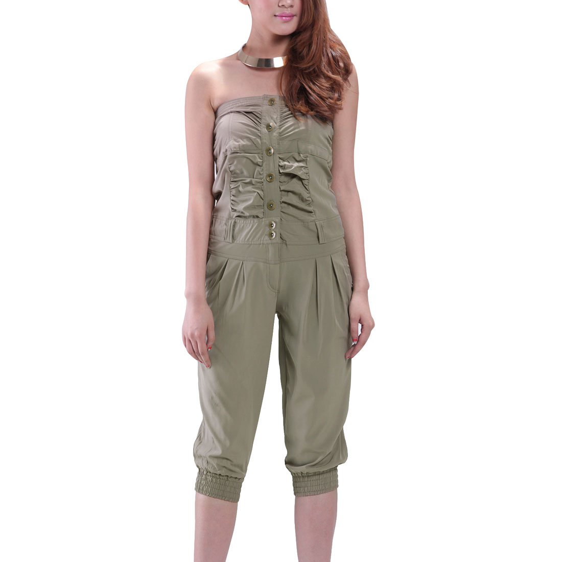 Casual Single Breasted Smocked Back Tube Cropped Jumpsuit Khaki XS for Women