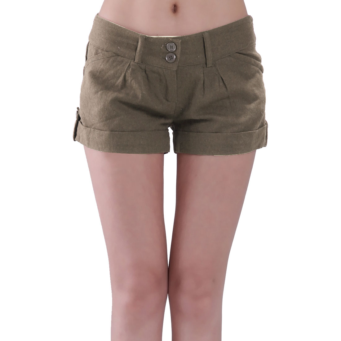 Summer Leisure Brown Low Waist Zippered Short Pants XXL for Women