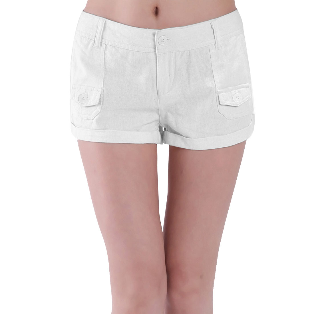 Solid White Low Waist Belt Loop Zipper Closure Shorts M for Women