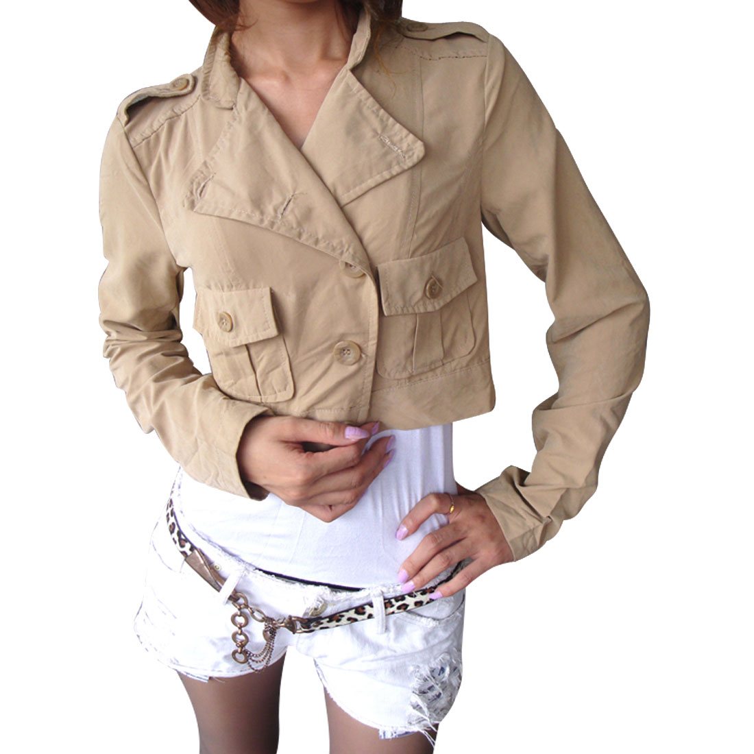 Lapel Collar Long Sleeves Solid Khaki Short Jacket S for Women