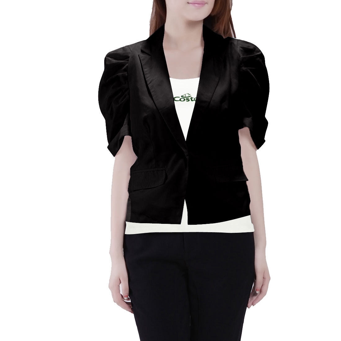 Elegant Solid Black Pull Sleeves Button Down Short Blazer S for Women