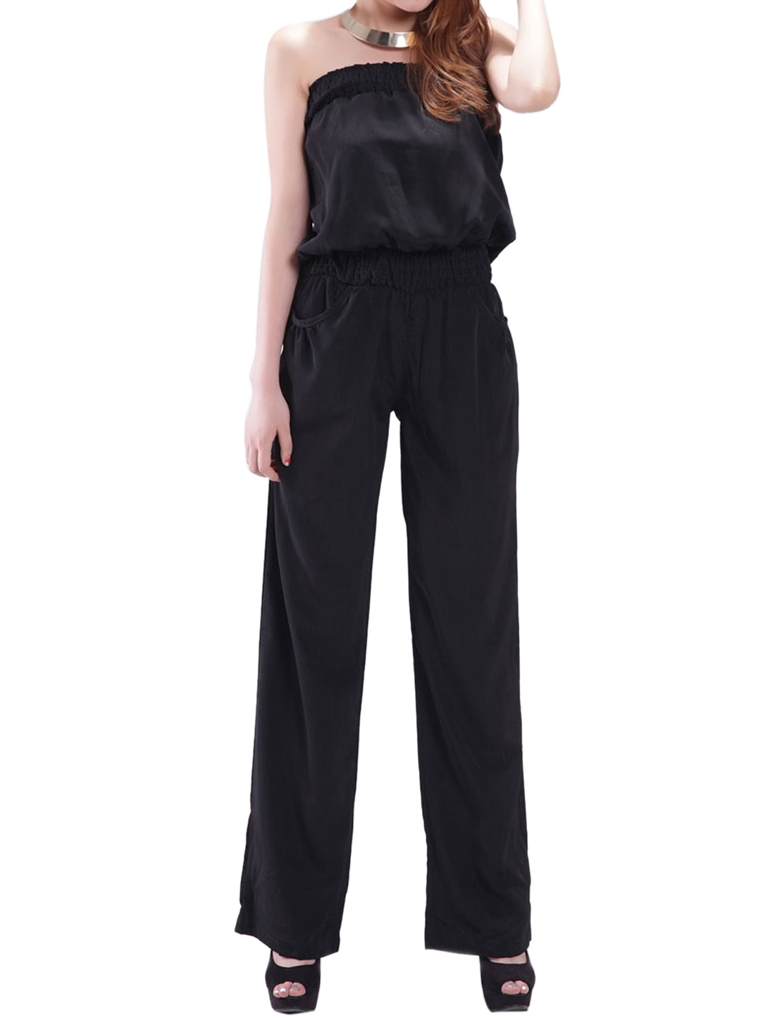 Ladies Leisure Slanting Pockets Elastic Bust Black XS Tube Jumpsuit