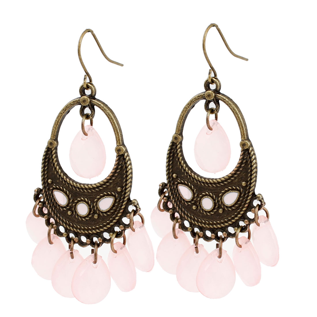 Ladies Pink Teardrop Faceted Beaded Pendant Fish Hook Earrings Bronze Tone Pair