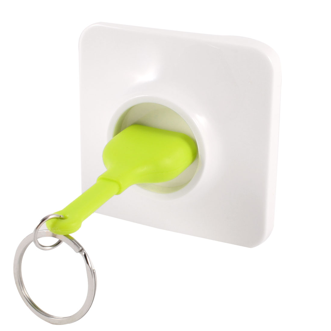 Wall Socket Design Unplug Keyring Keychain Key Holder White Green
