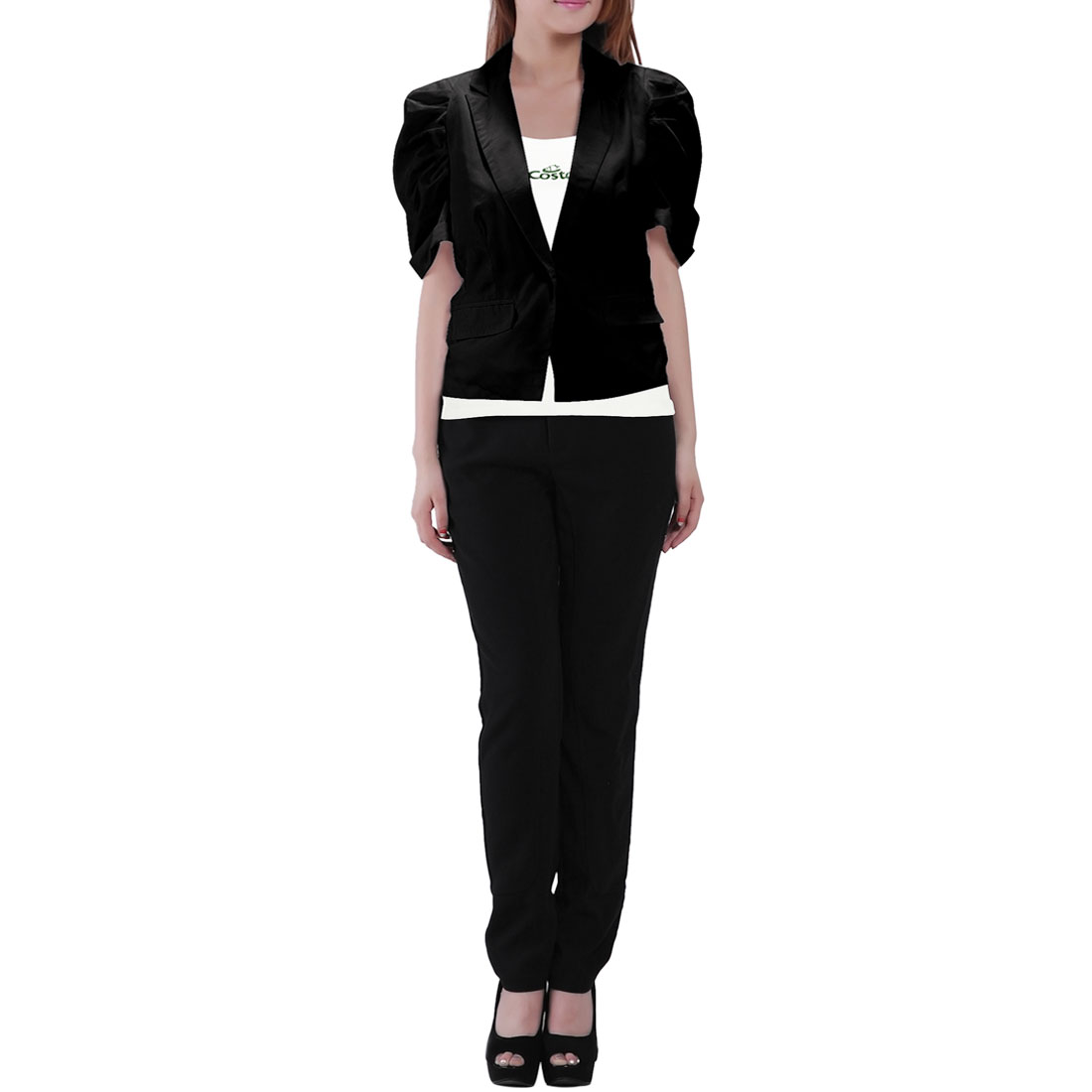 Ladies Lapel Collar Fake Pockets Front Button Up Short Blazer Black XS