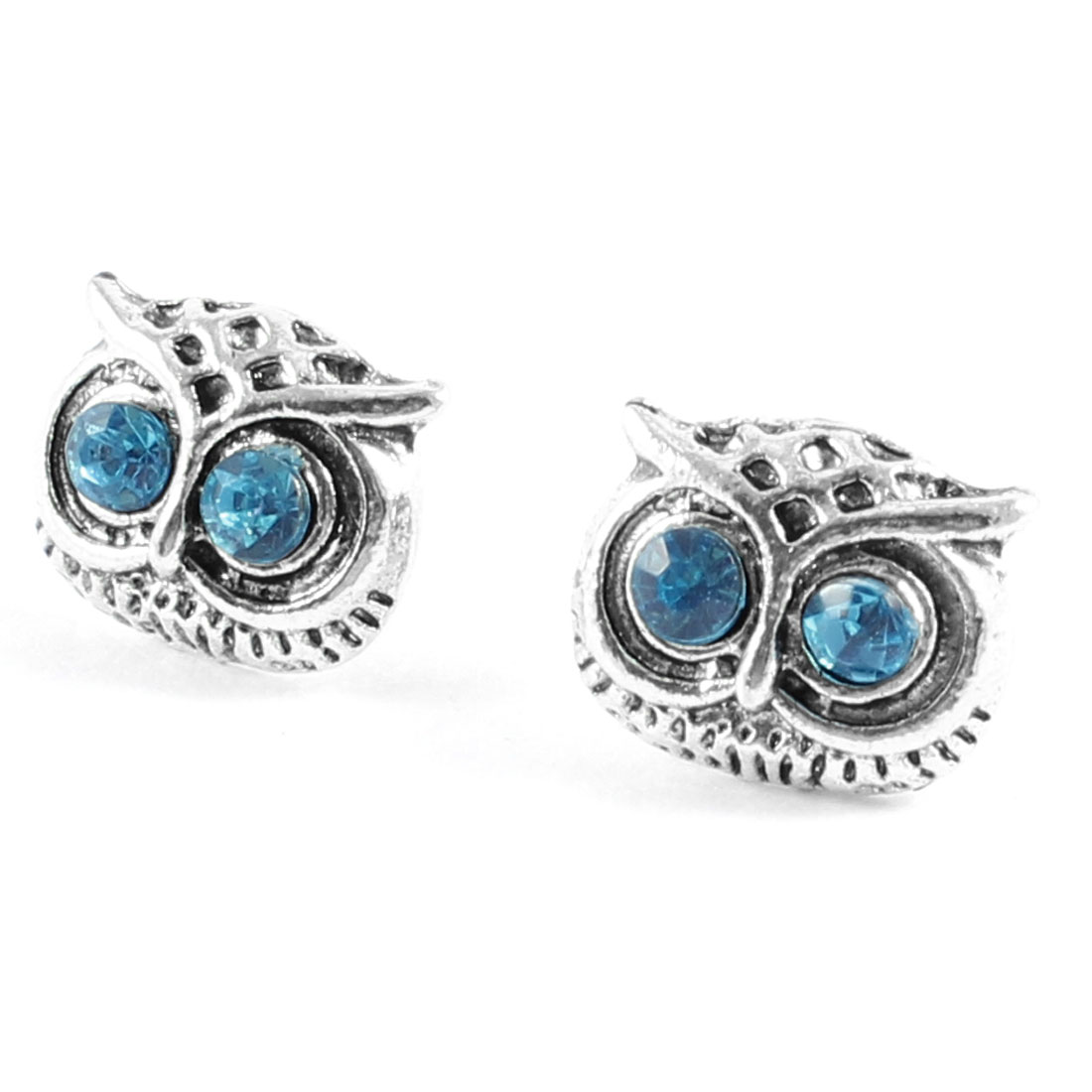 Woman Ear Decoration Blue Plastic Rhinestone Inlaid Owl Shape Stud Earrings Pair