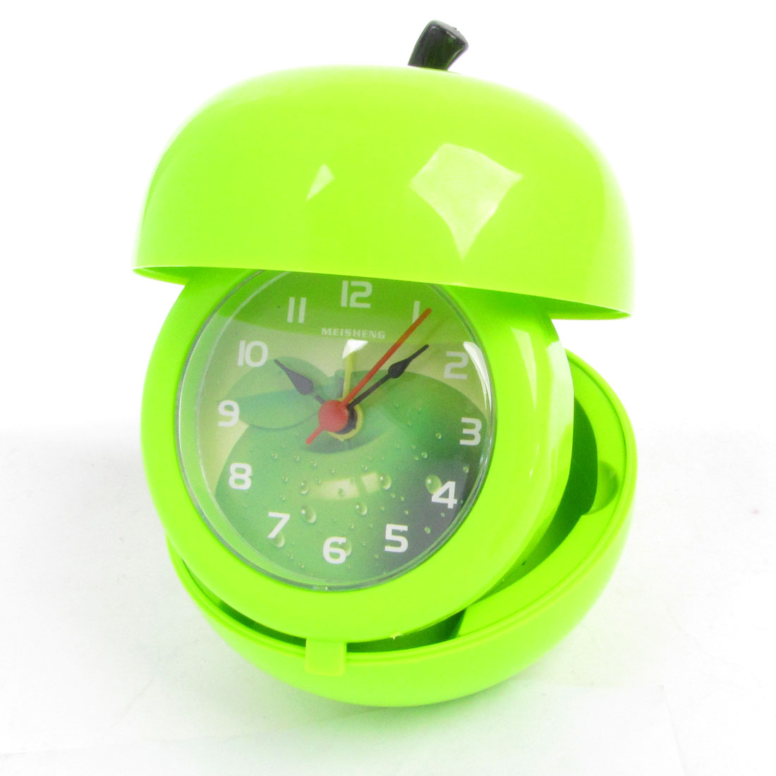 Green Plastic Apple Shape Battery Power Photo Display Table Alarm Clock