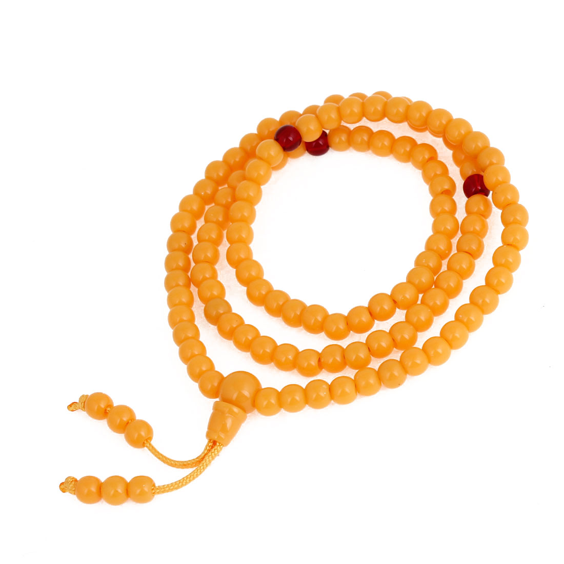 Woman Girl Orange Plastic Beads Elastic Hand Catenary Bracelet Decoration
