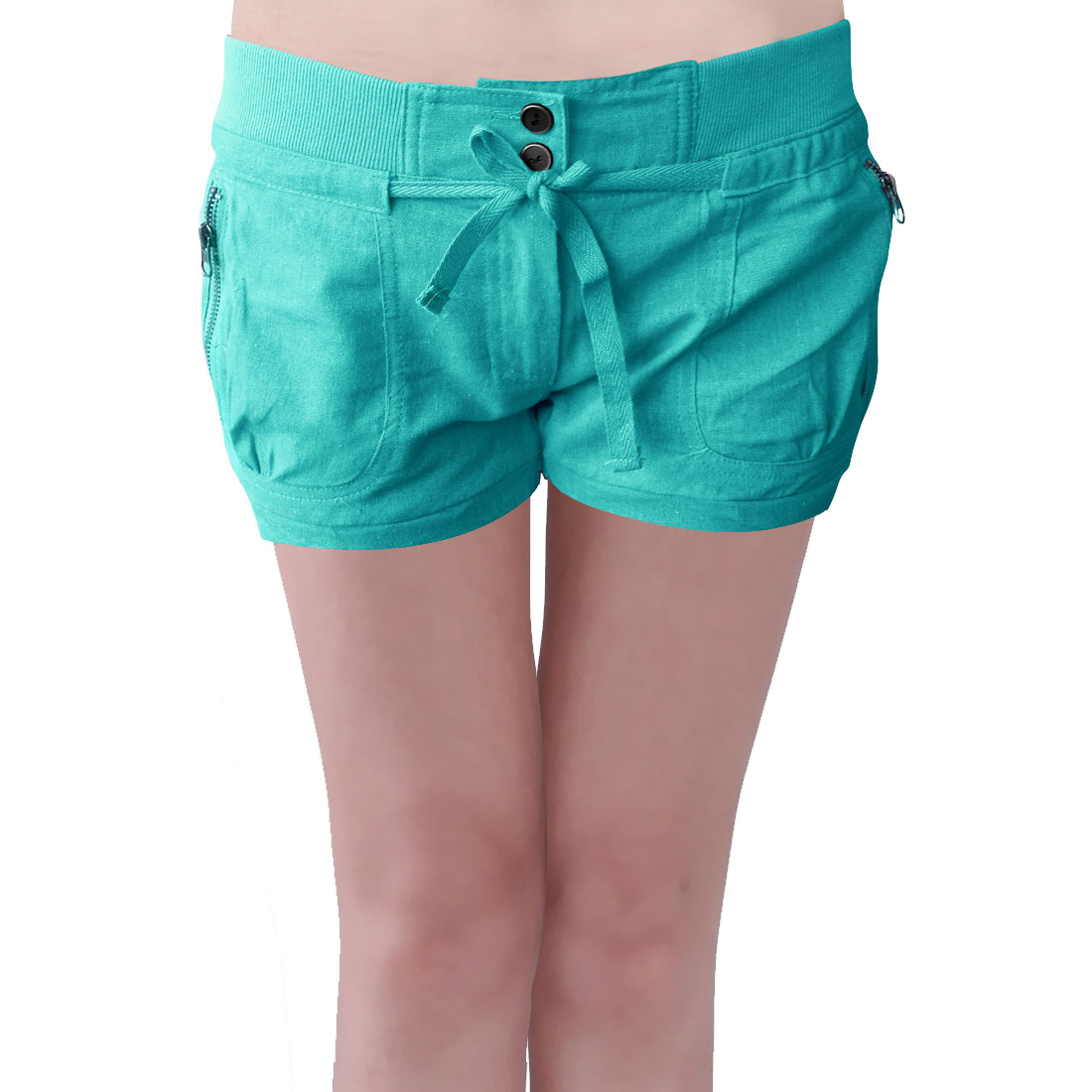 Women Elastic Waist Zippered Pockets Leisure Short Pants Green L