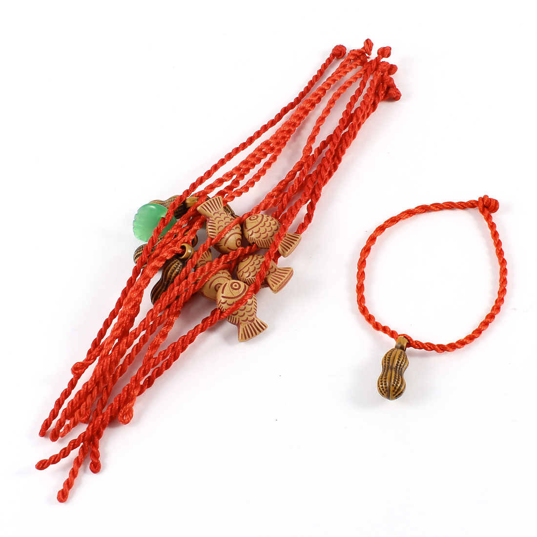 Green Faux Jade Leaf Detail Red Knitted Cord Anklet Bracelet 11 Pcs