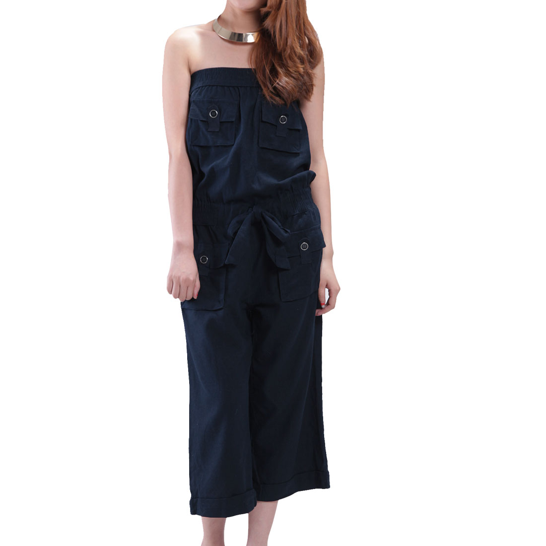 Navy Blue Elastic Bust Drawstring Waist Tube Jumpsuit S for Women