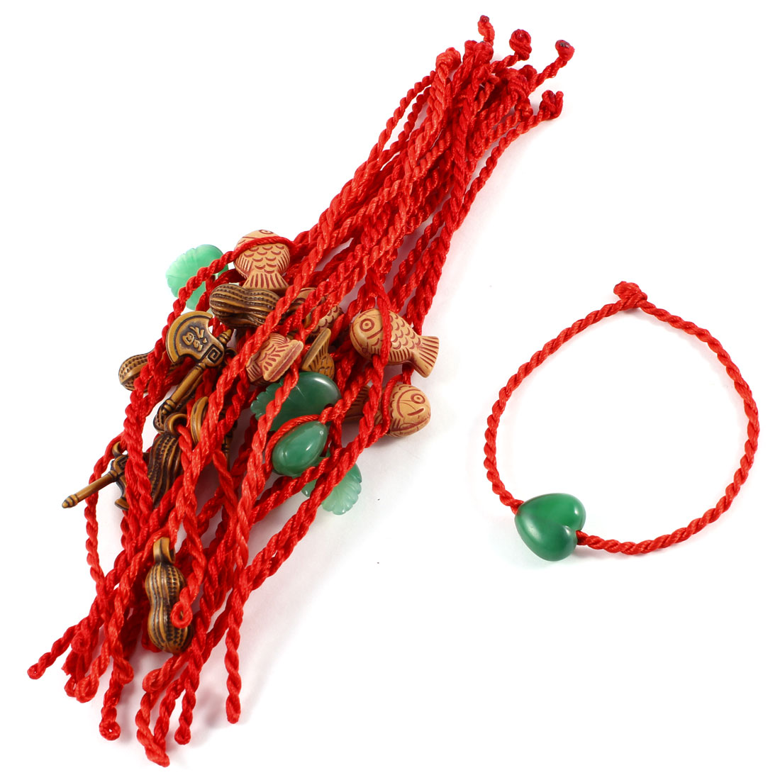 Green Faux Jade Heart Leaf Detail Red Knitted Cord Anklet Bracelet 20 Pcs