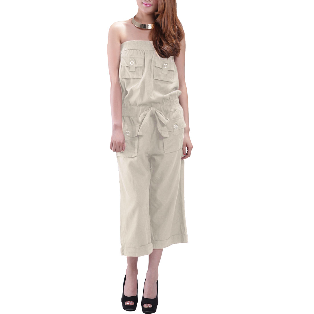 Woman Summer Loose Vertical Pockets Front Tube Jumpsuit Beige S