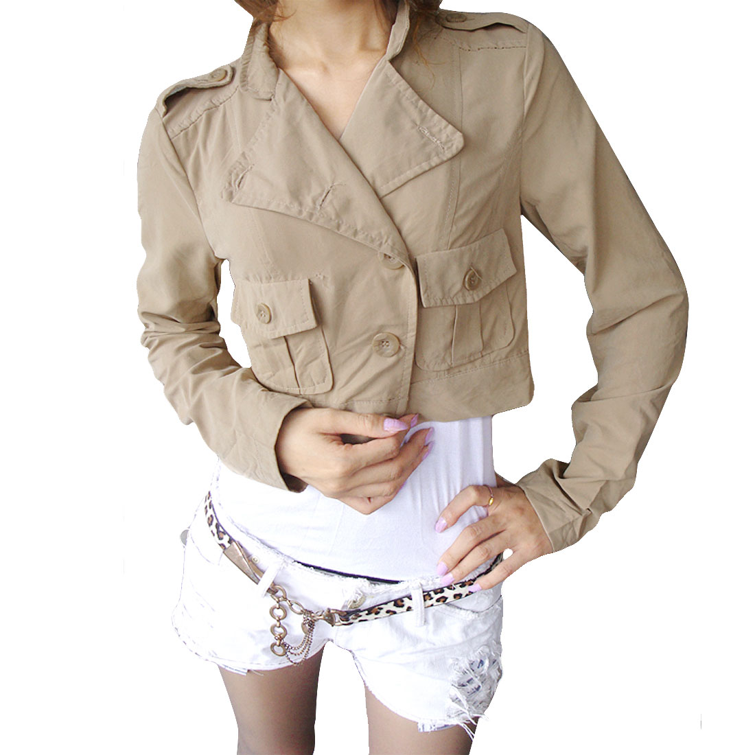 Charming Patch Pockets Front Jacket Short Top Khaki XS for Woman