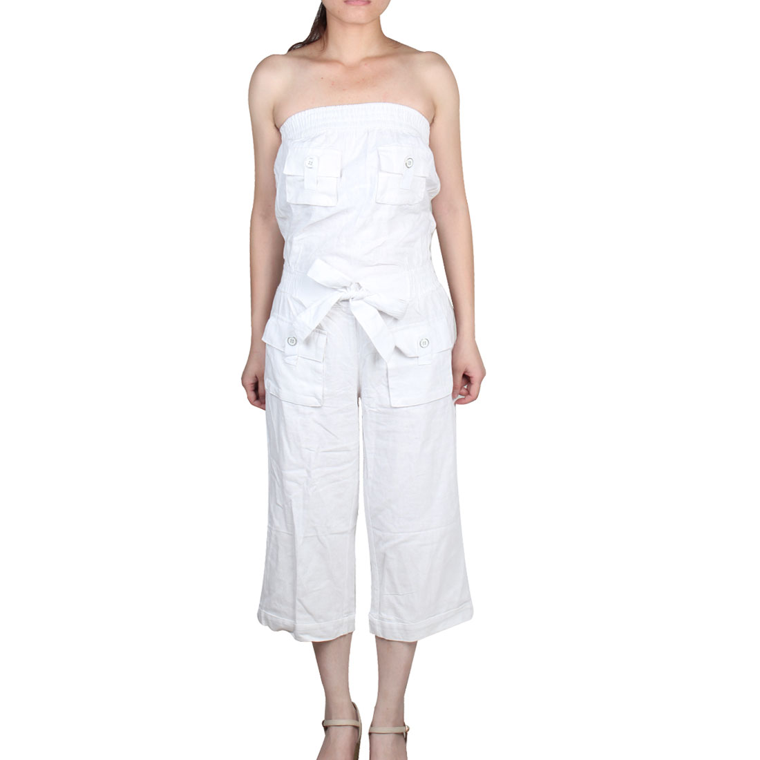 Woman Summer Loose Vertical Pockets Front Tube Jumpsuit White XS
