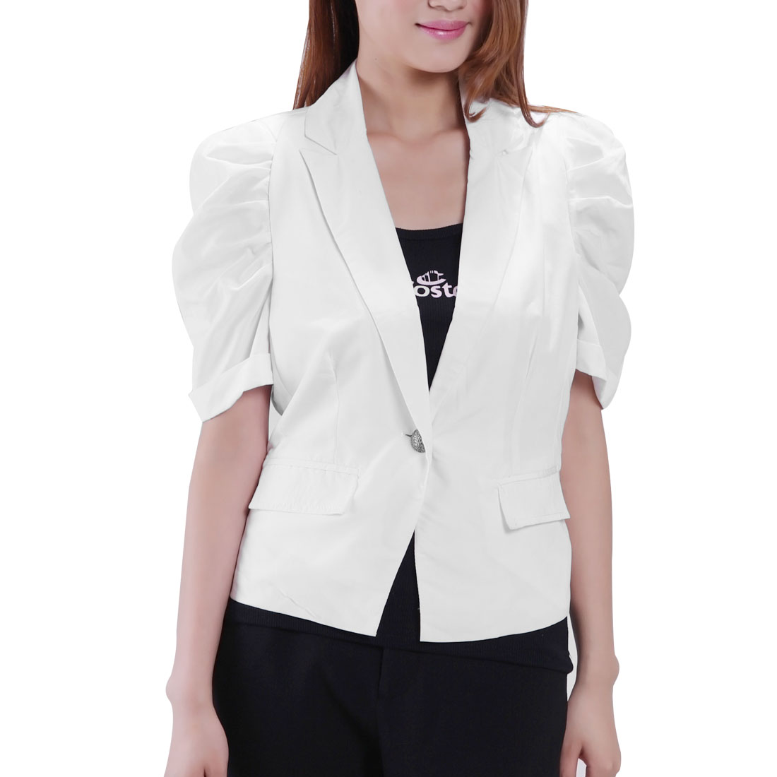 Shoulder Pads White Pull Sleeves Button Down Short Blazer S for Women