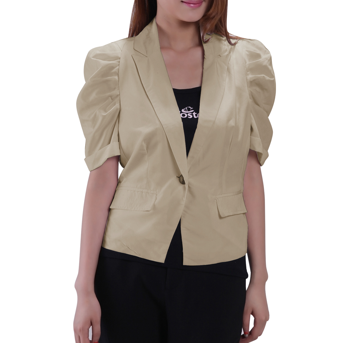 Woman Ruched Sleeves Nylon Lining Professional Short Blazer Tops Khaki XS