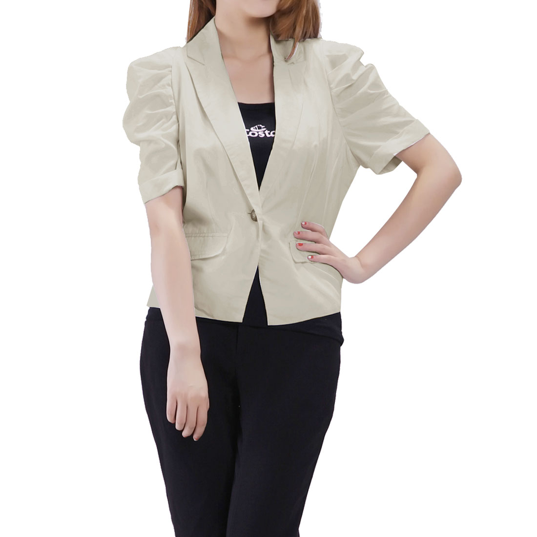 Ladies Lapel Collar Fake Pockets Front Button Up Short Blazer Khaki XS