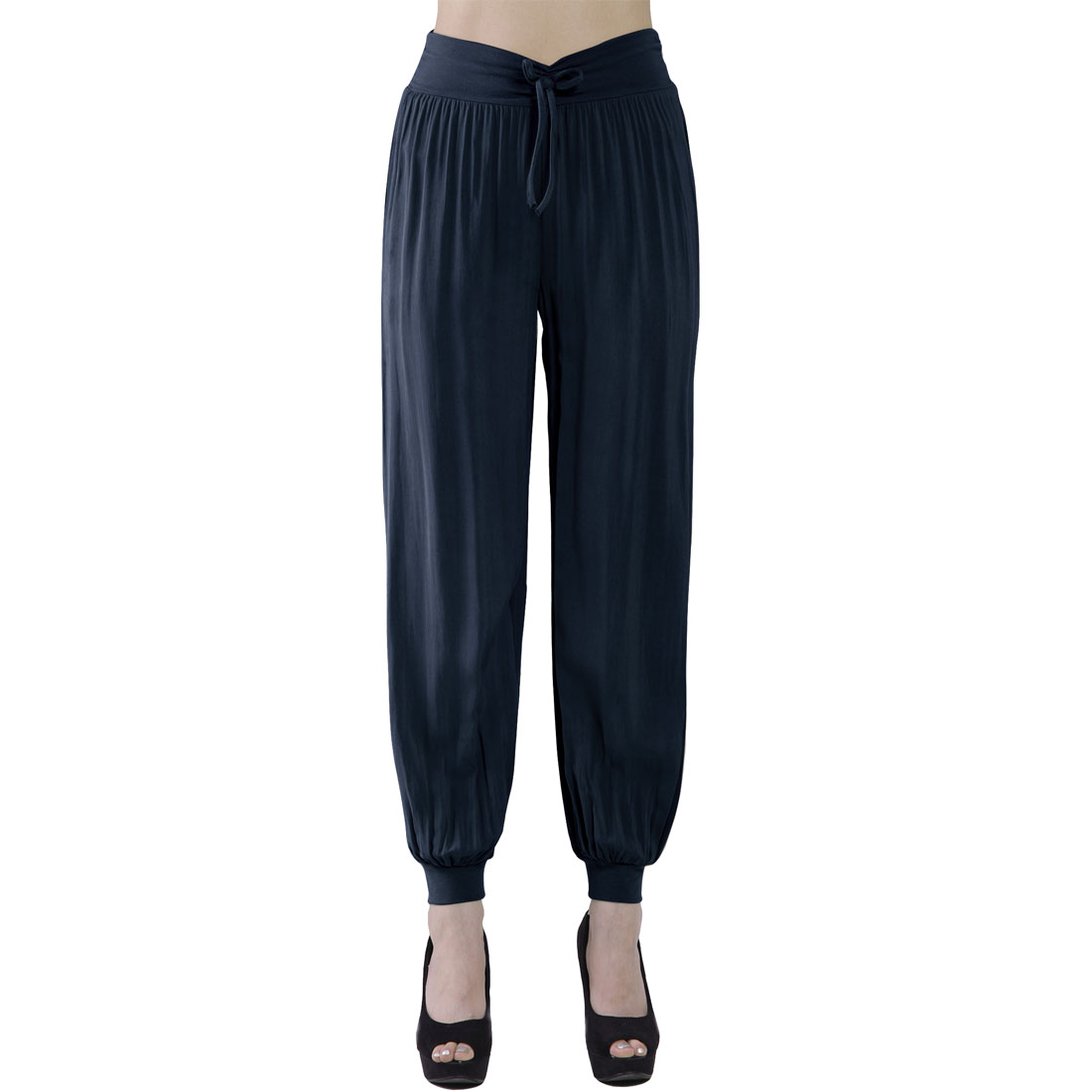 Woman Leisure Bowknot Detail Elastic Waist Trousers Navy Blue XS