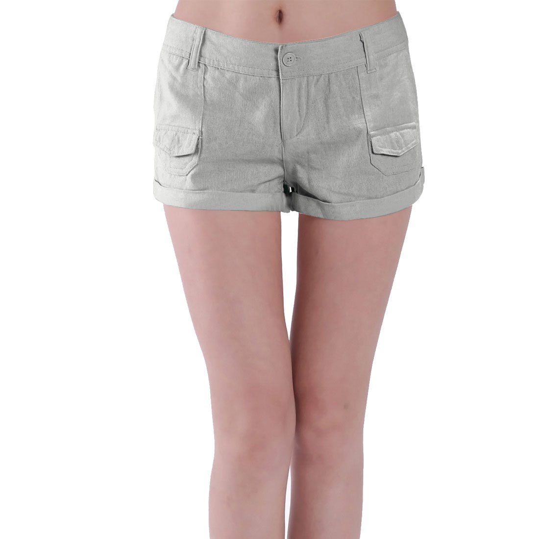 Ladies Summer Gray S Low Waist Hip Patch Pockets Zip Short Trousers