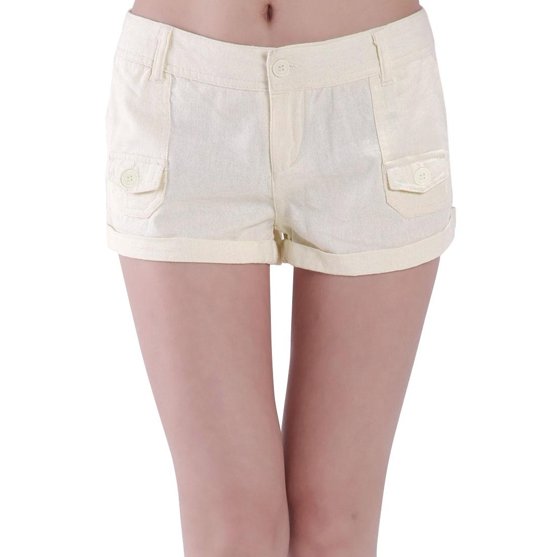 Ladies Summer Low Waist Hip Patch Pockets Zip Short Trousers Beige XS