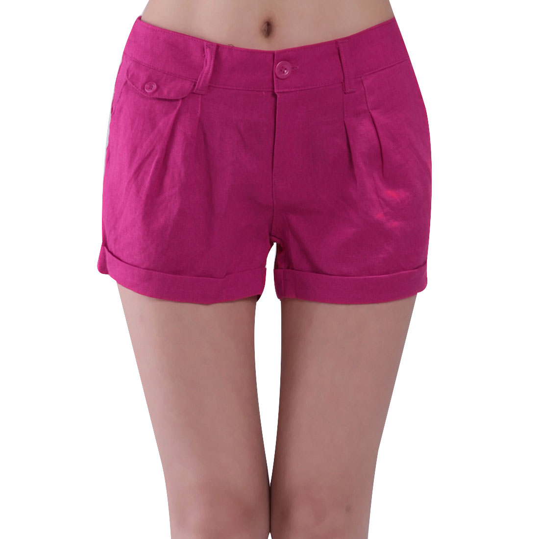 Woman Slanting Pockets Ruffled Button Closure Zip Shorts Fuchsia M