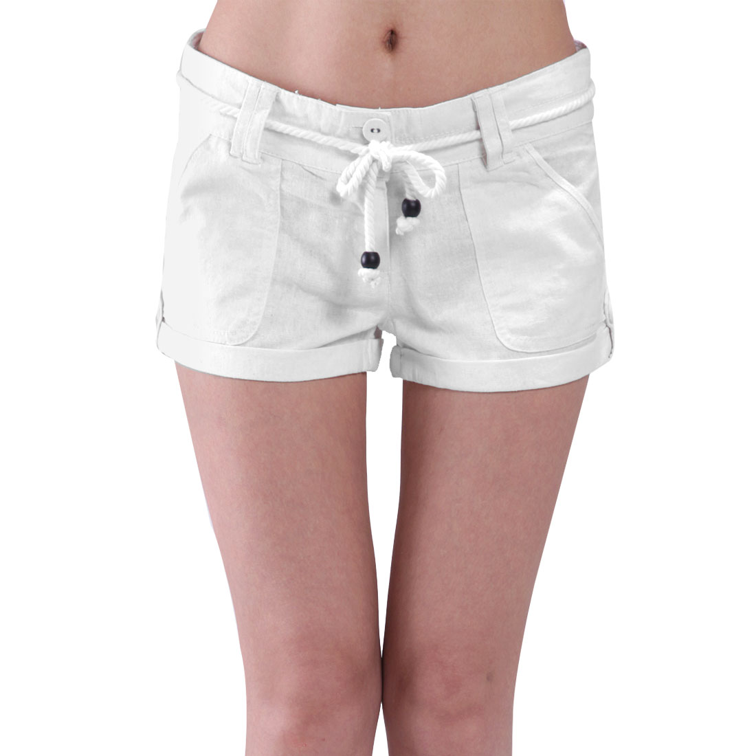 Woman Solid White Charming Belt Loop Button Closure Zip Shorts Trousers M