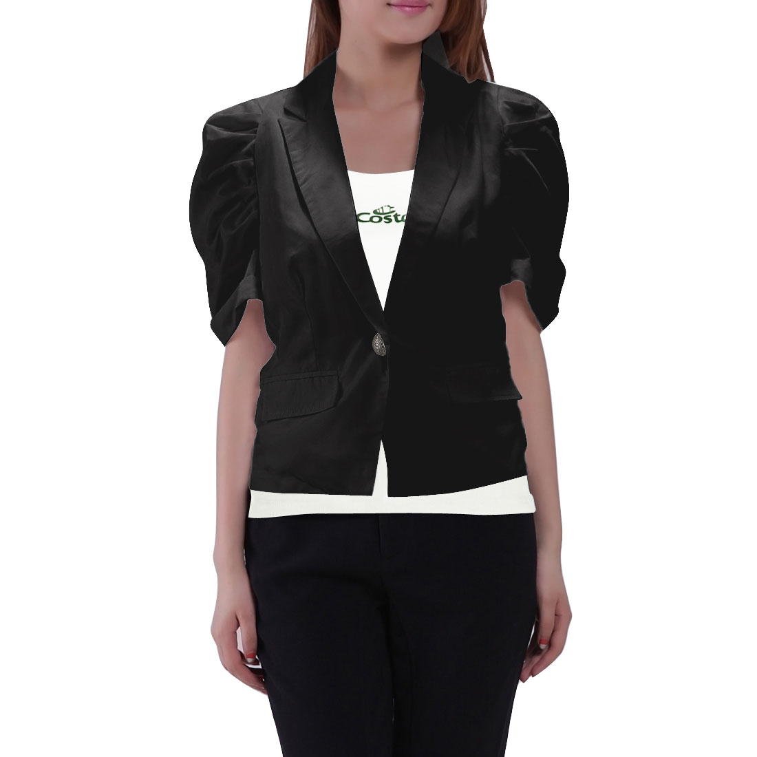 Shoulder Pads Black Pull Sleeves Button Down Short Blazer S for Women