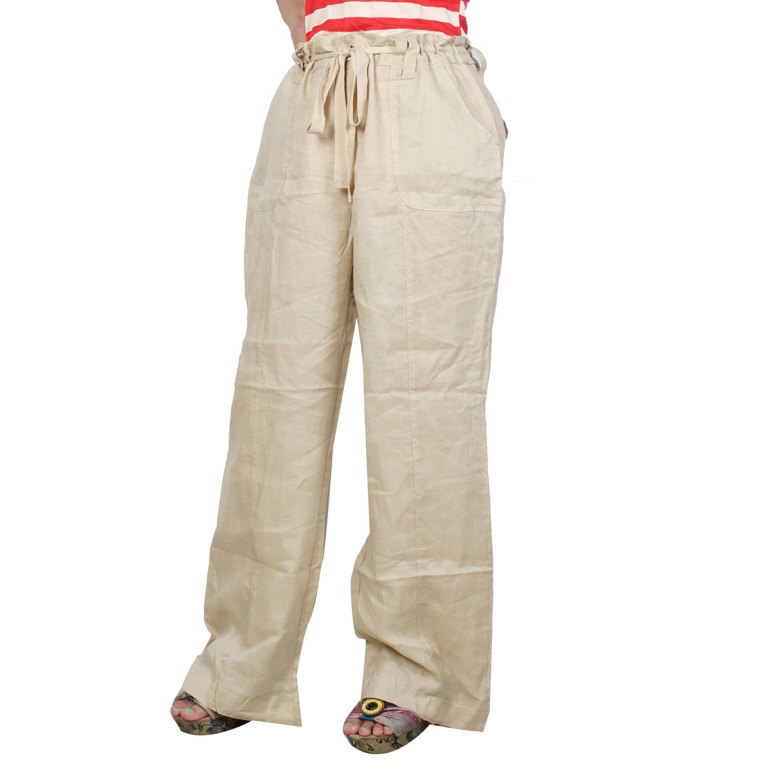 Women Slanting Pockets Front Button Closure Leisure Pants Beige XL