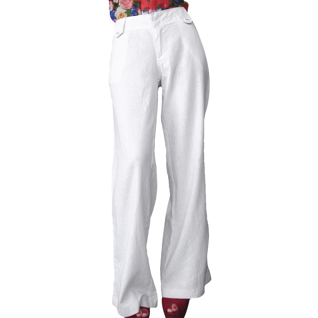 Women Leisure Solid Color Slanting Pockets Zip Trousers Pants White L