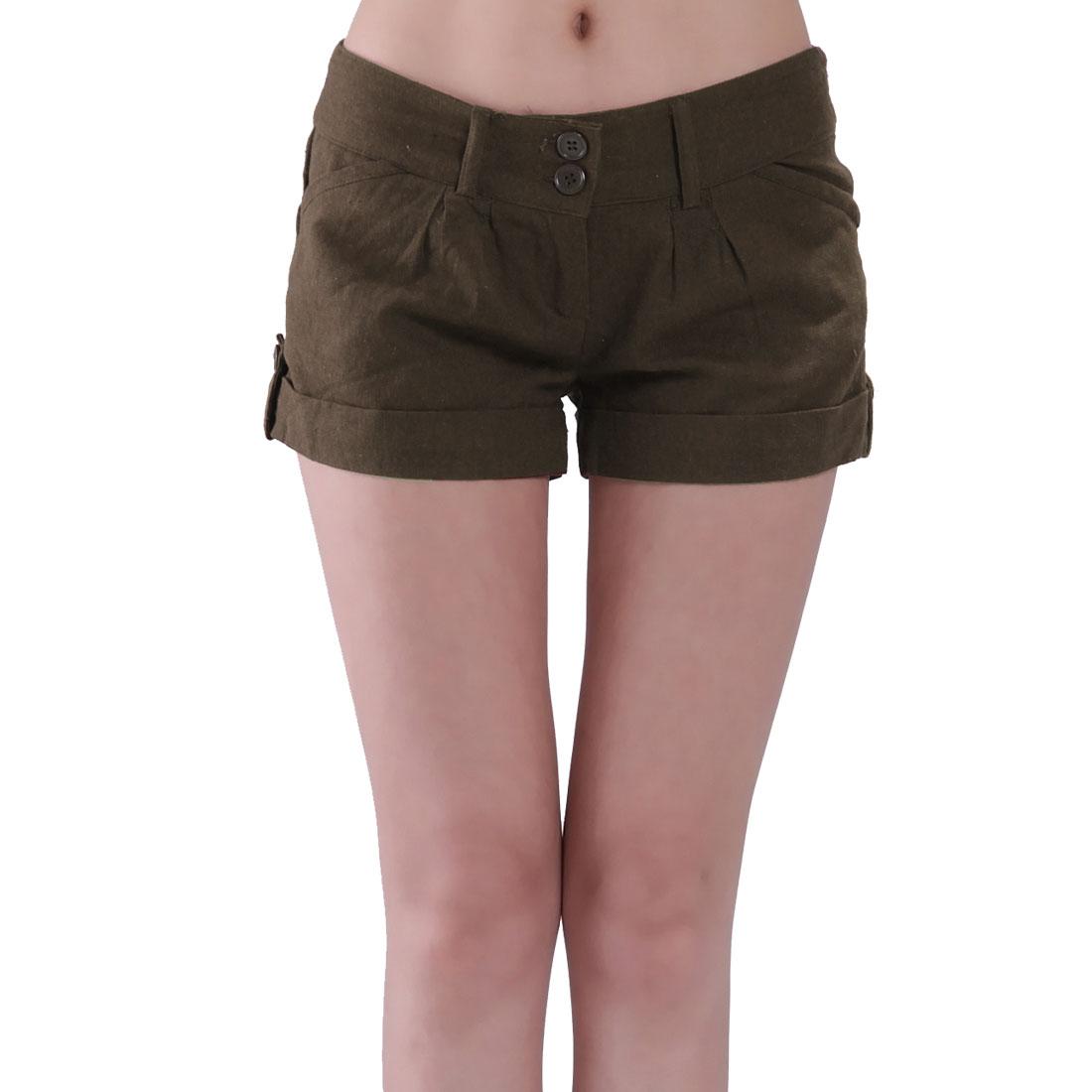 Casual Cuff Tabs Belt Loop Zip Shorts Trousers Brown S for Ladies