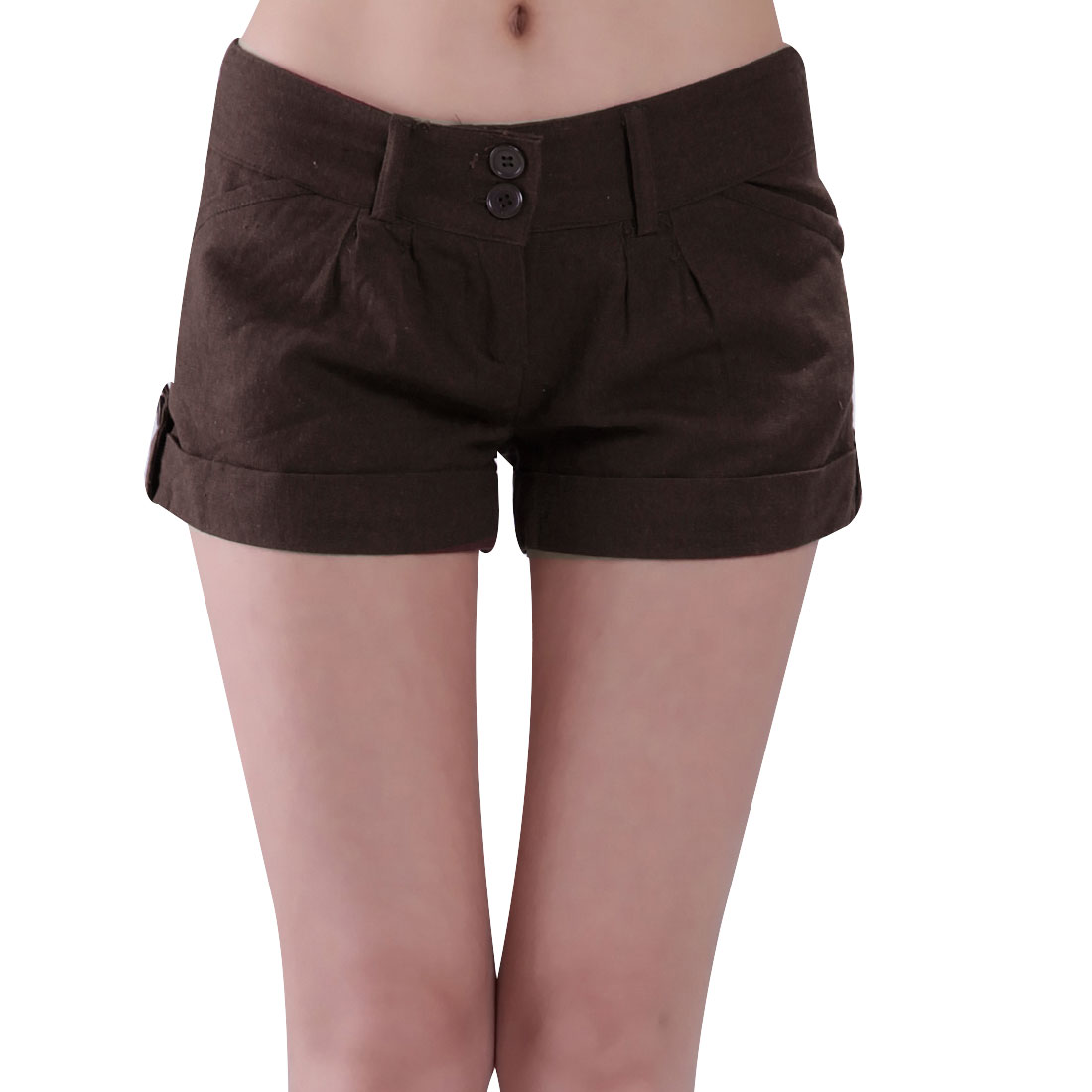 Woman Coffee Color Slanting Pocket Detail Button Closure Shorts Pants S