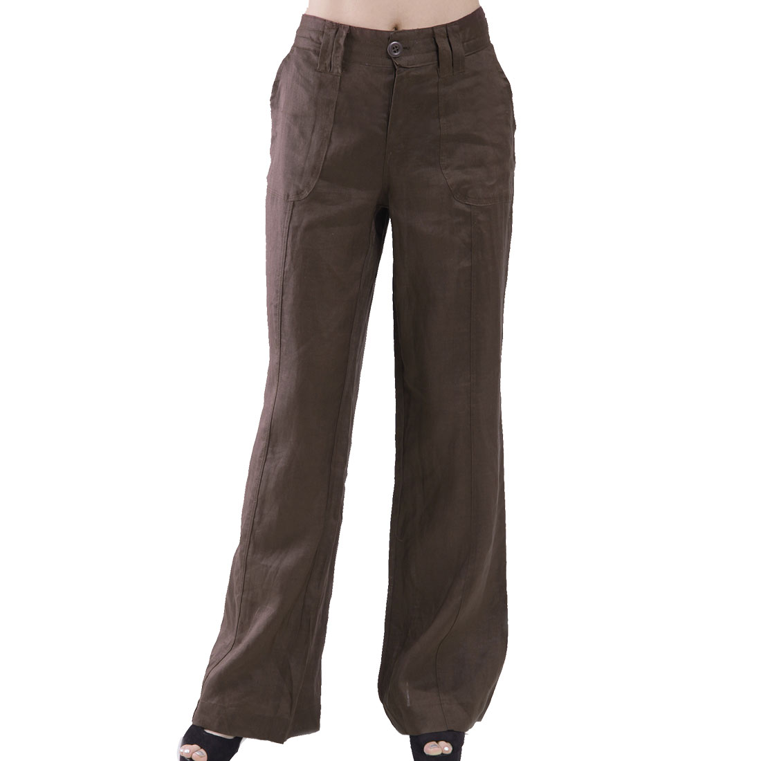 Solid Coffee Color Summer Autumn Loose Zip Fly Pants Trousers L for Woman