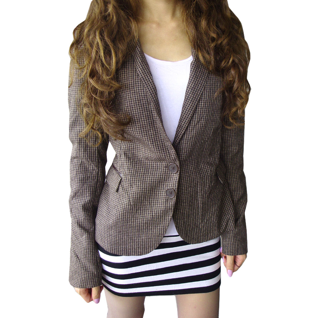 Charming Faux Leather Elbow Mini Grids Print Blazer Brown XS for Women