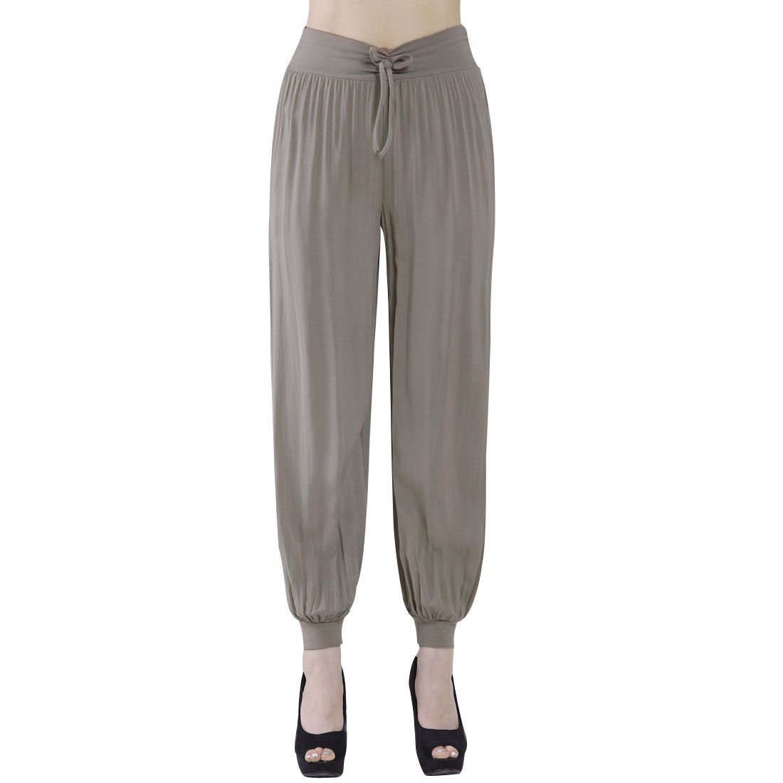 Casual Stretchy Cuff Casual Pants Trousers Khaki S for Ladies