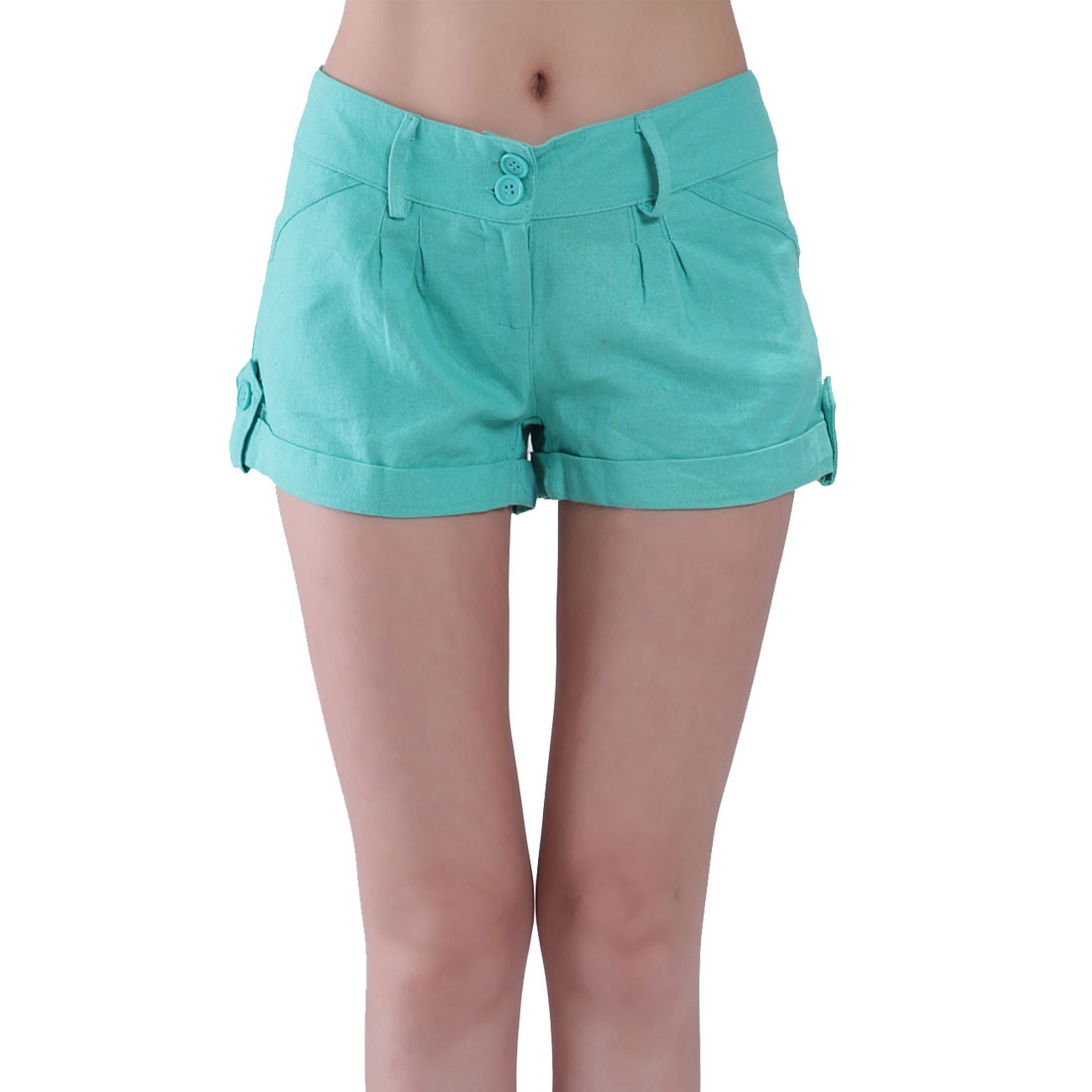 Low Waist Fake Hip Pockets Zippered Short Pants Green M for Women