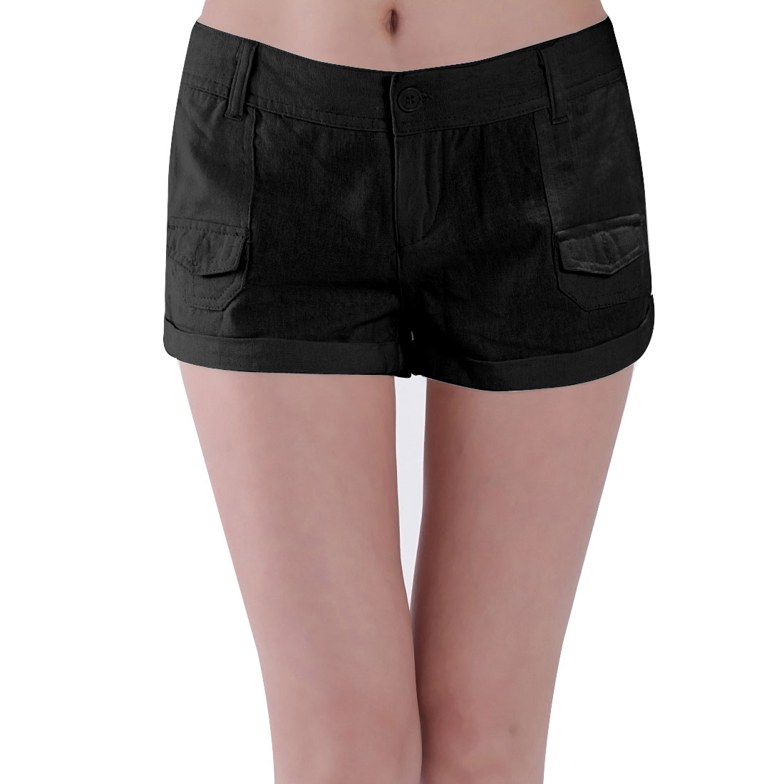 Slanting Pockets Belt Loop Button Closure Shorts Black L for Women