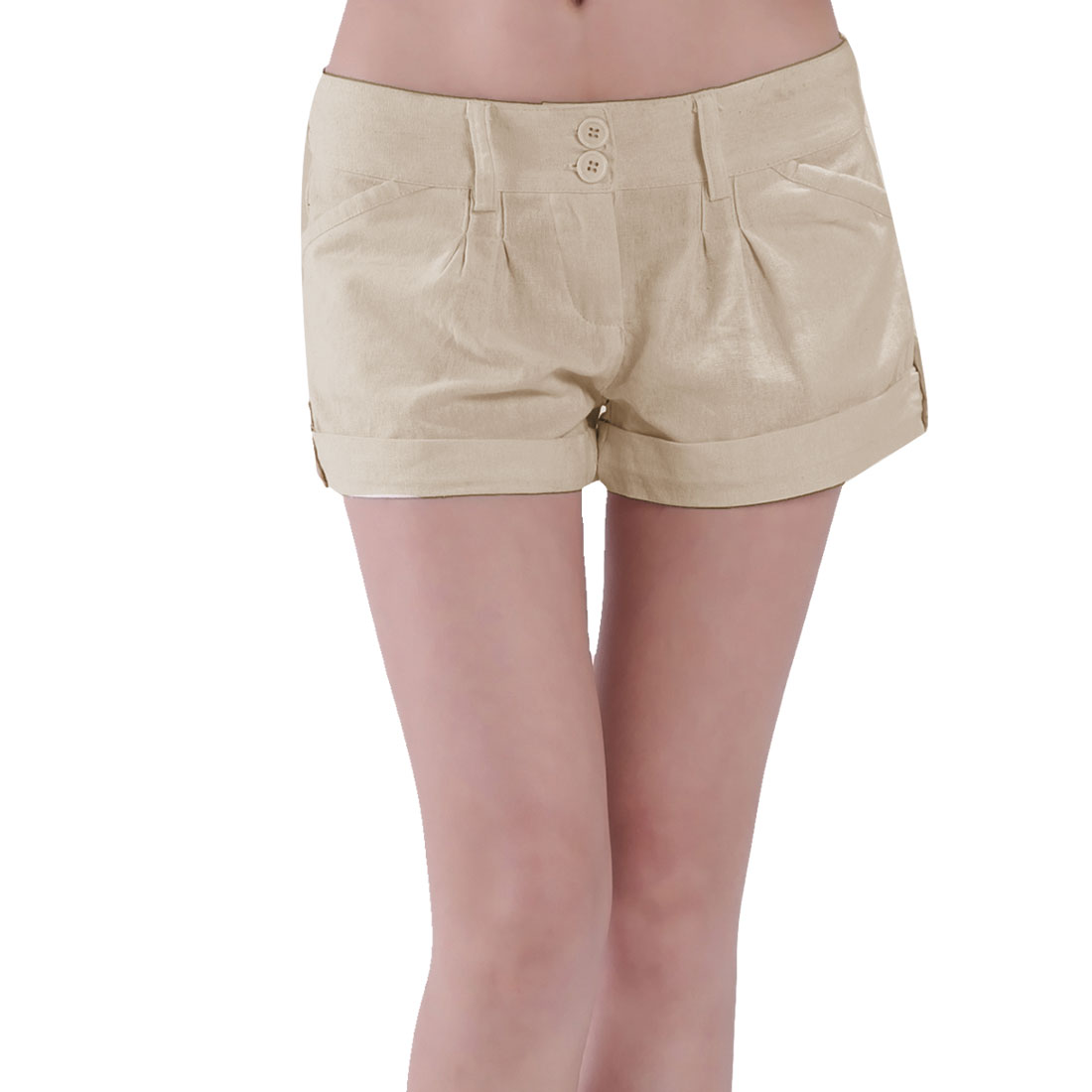 Low Waist Fake Hip Pockets Zippered Short Pants Khaki XL for Women