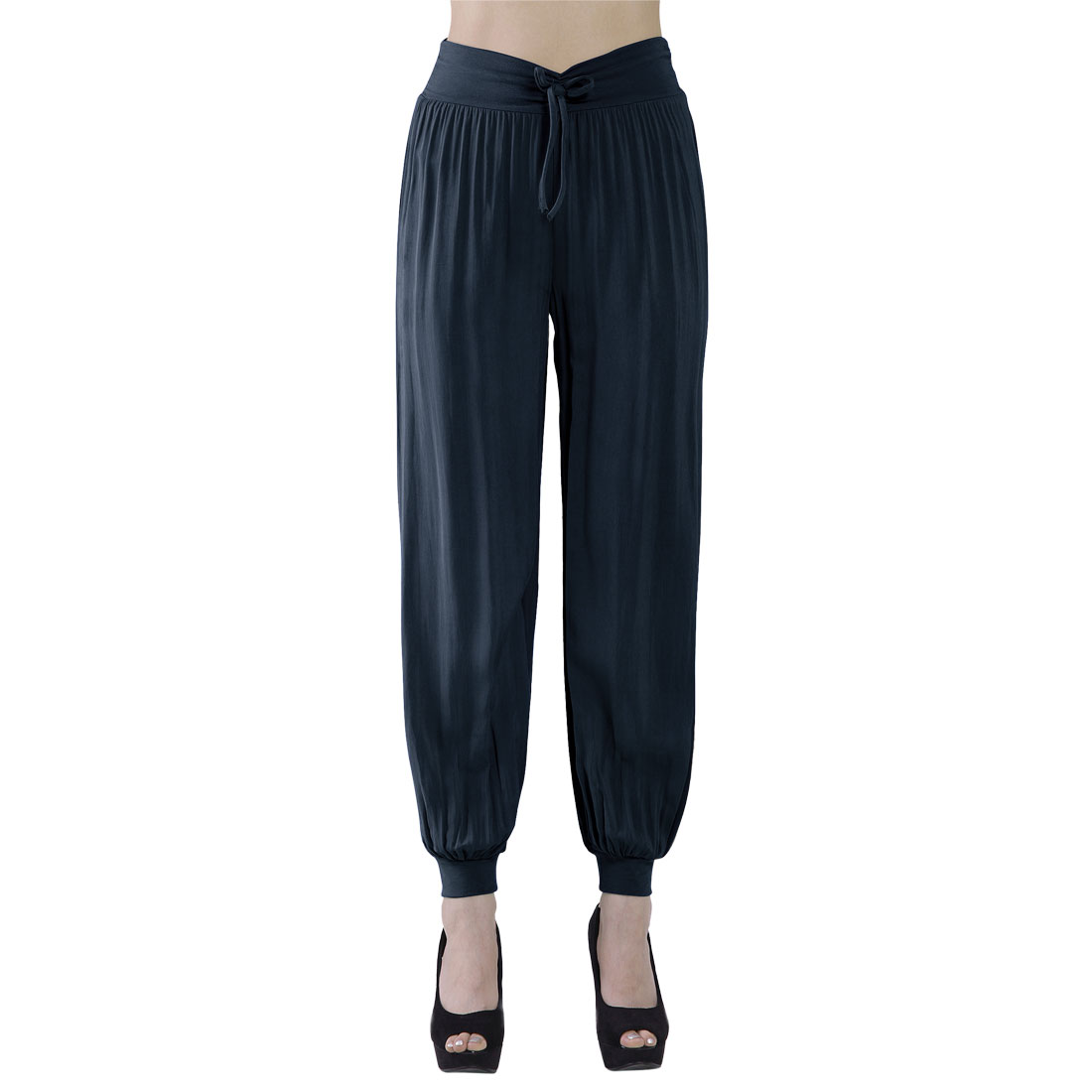 Women Summer Loose Ruffled Elastic Cuff Pants Trousers Navy Blue S