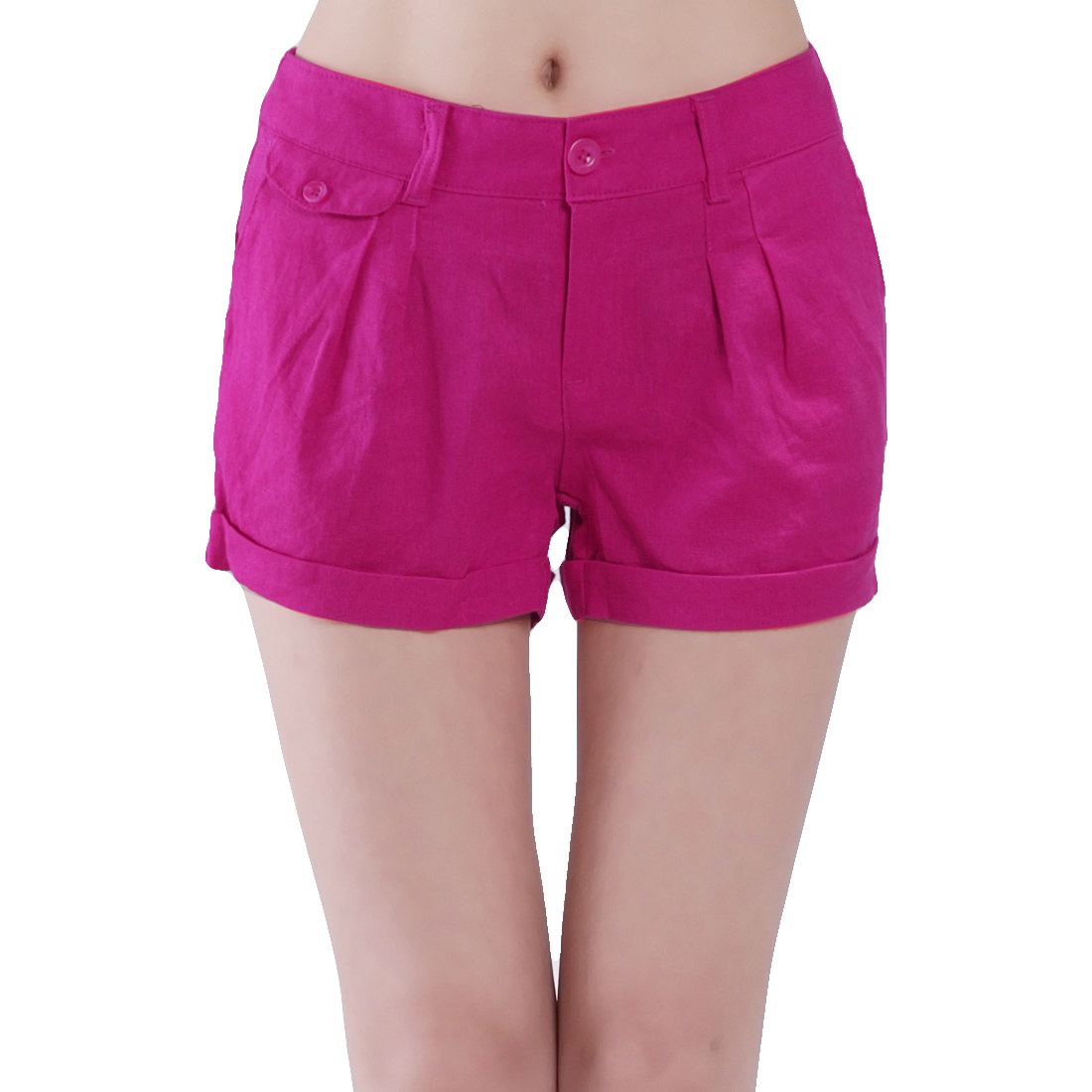 Summer Low Waist Belt Loop Zipper Shorts Pants Fuchsia S for Women