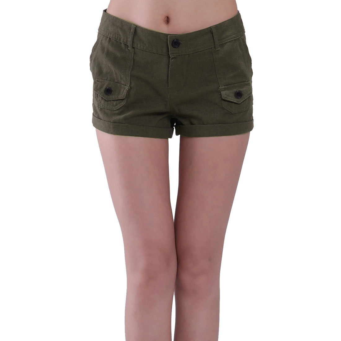 Slanting Pockets Belt Loop Button Closure Shorts Brown L for Women