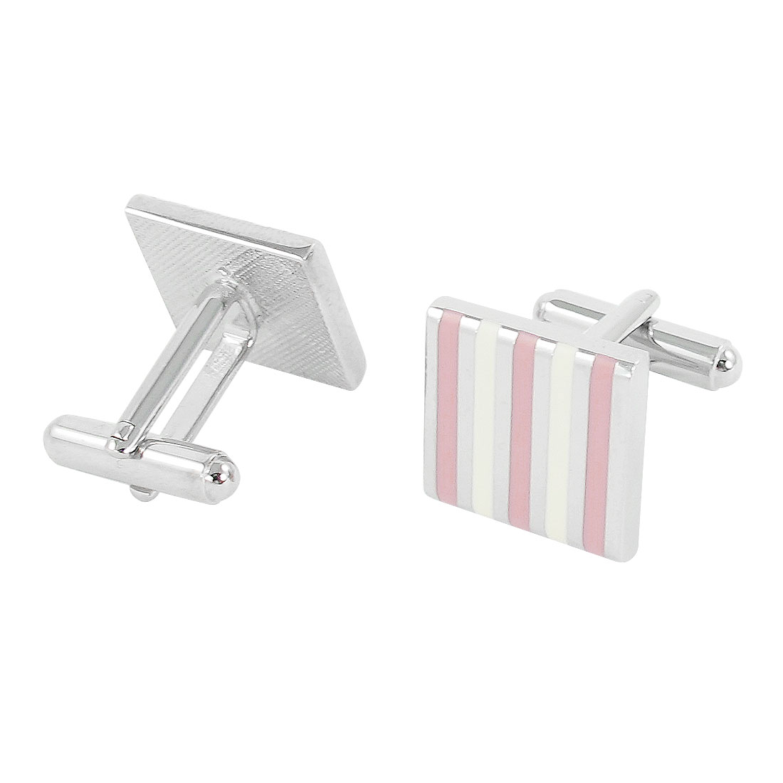 Pair Men Off White Pink Stripes Print Tuxedo Shirt Decor Cufflinks