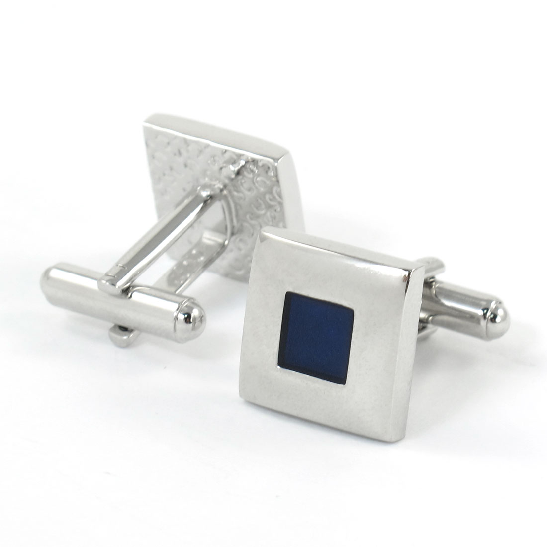 Pair Men Square Shaped Dark Blue Silver Tone Tuxedo Shirt Decor Cufflinks