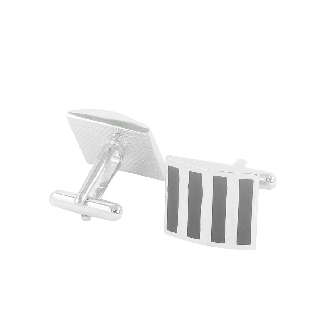 Wedding Party Black Stripes Pattern Metallic Cufflinks Cuff Links Pair