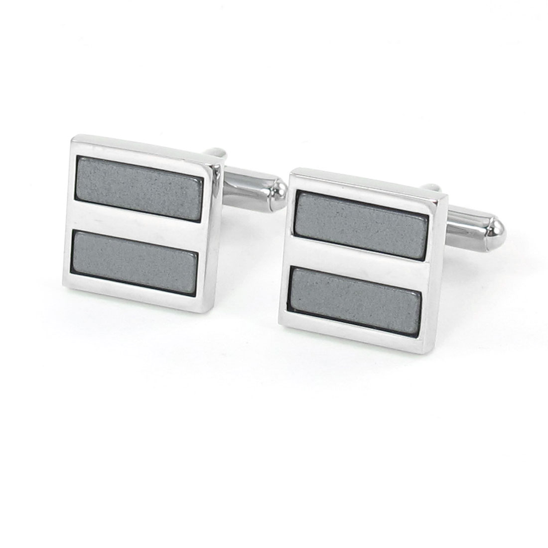 Pair Men Square Shaped Dark Gray Silver Tone Tuxedo Shirt Decor Cufflink